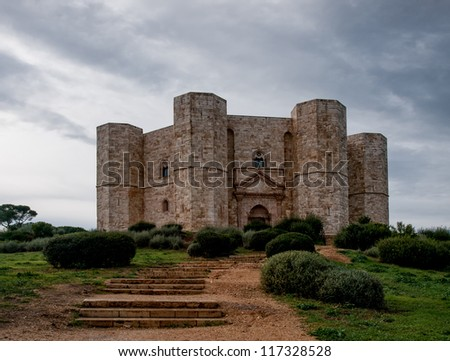 "Italian medieval castle - ""Castel del Monte"" or ""Castel of the mount"". - stock photo"