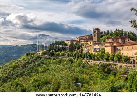 Italian medieval town of Montecatini Alto in Tuscany - stock photo