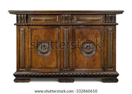 Italian old vintage antique buffet sideboard carved with  drawers  isolated on white with clipping path. - stock photo
