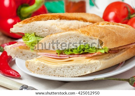 Italian panini sandwich with ham, cheese and salad.