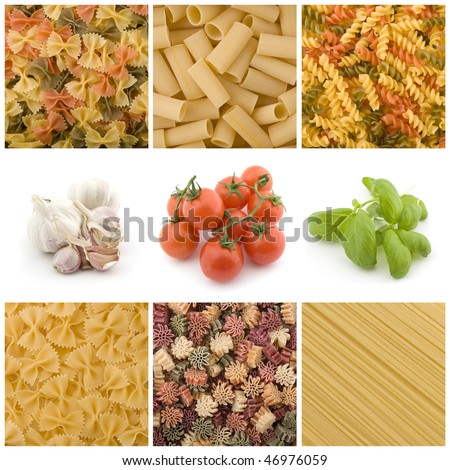 Italian pasta and ingredient collection