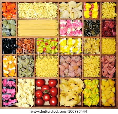 Italian pasta collection in wooden box - stock photo