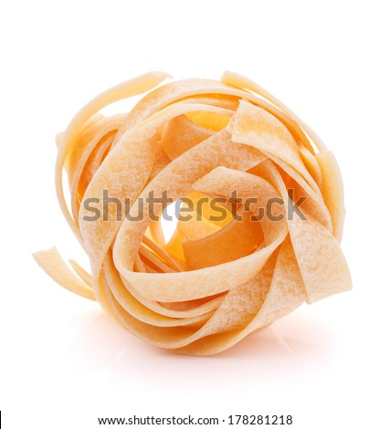 Italian pasta fettuccine nest isolated on white background