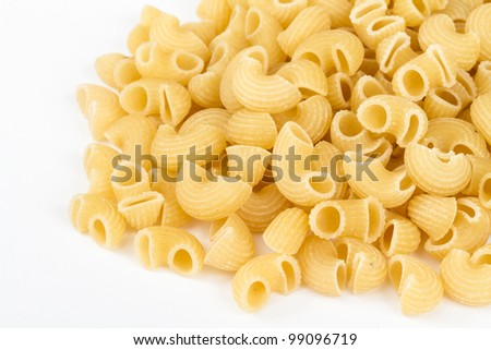 italian pasta (macaroni) isolated on white background