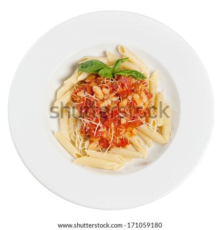 Italian pasta on the plate - stock photo