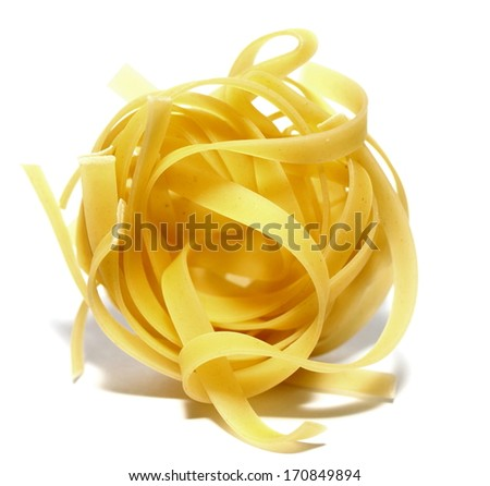 italian pasta portion isolated on white background closeup - stock photo
