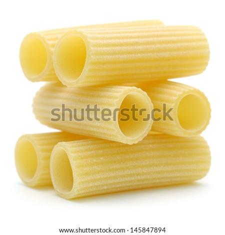 """Italian pasta """"rigatoni"""" isolated on white background - stock photo"""
