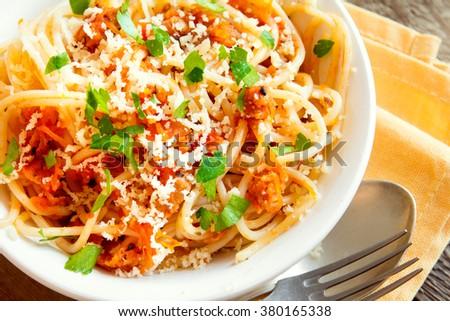 Italian pasta - Spaghetti bolognese close up - stock photo