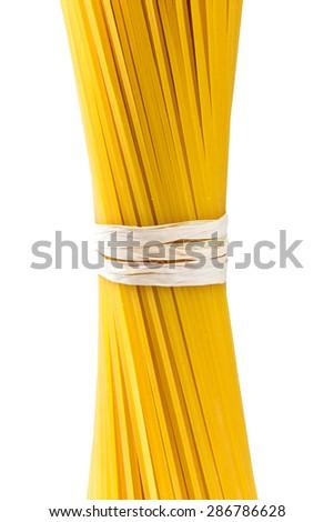 Italian Pasta spaghetti macaroni isolated on white background. - stock photo