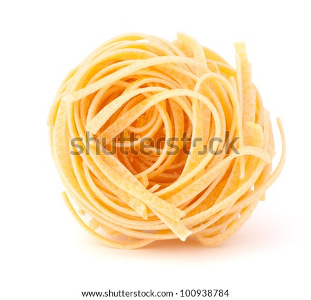 Italian pasta tagliatelle nest isolated on white background - stock photo