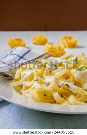 italian pasta tagliatelle with blue cheese sauce