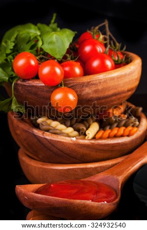 Italian pasta with cherry tomato and basil