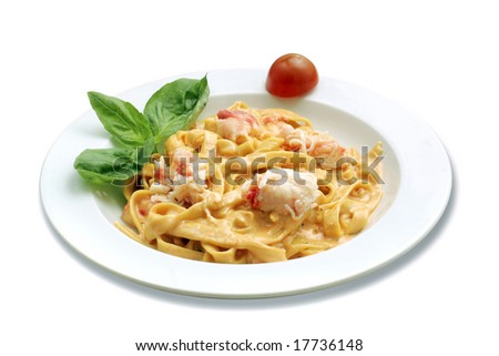 Italian pasta with crab. White isolated with path.