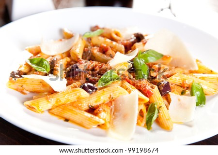 Italian pasta with parmesan and vegetables