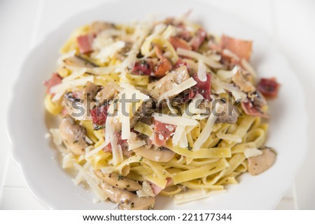 Italian pasta with sauce - stock photo