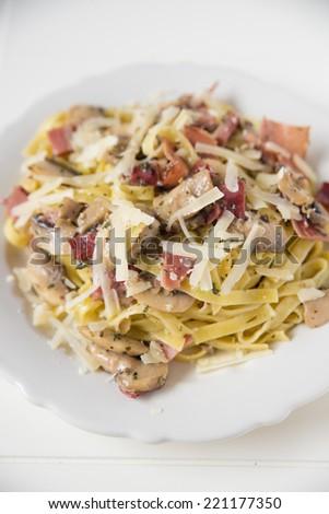 Italian pasta with sauce - stock photo