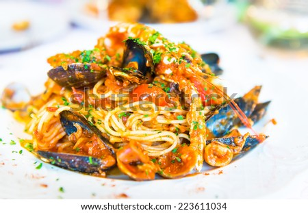Italian pasta with seafood - stock photo
