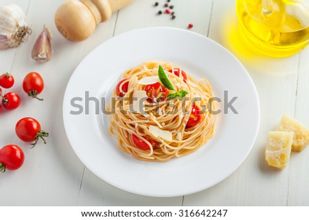 Italian pasta with tomato sauce, spaghetti, top view