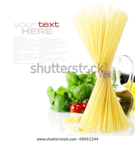 Italian Pasta with tomatoes, olive oil and basil on a white background  (with space for text)