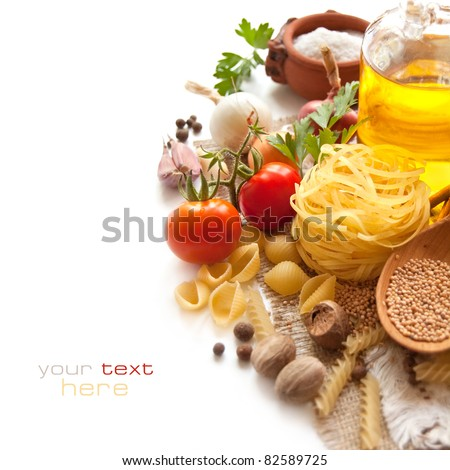 Italian Pasta with tomatoes, spices and oil