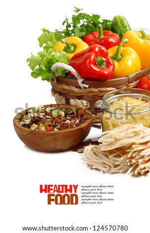 Italian Pasta with vegetables in wooden plate isolated on white. - stock photo