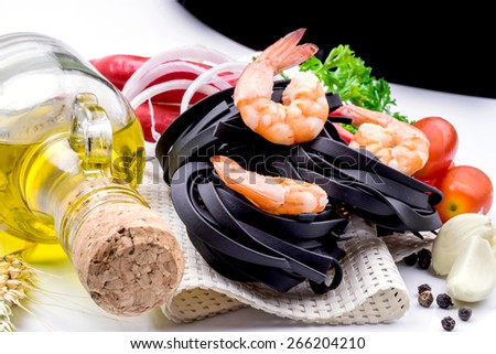 Italian Pasta with vegetables on white background