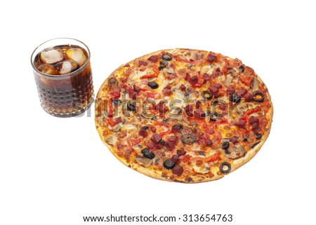 italian pizza and cola,isolated on white