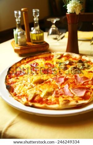 Italian Pizza and seasoning sauce - stock photo
