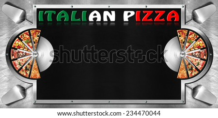 Italian Pizza / Empty blackboard on metal background with metal frame, slices of pizza, spatulas, stainless steel pizza cutters and written Italian Pizza. Template for a italian pizza menu  - stock photo