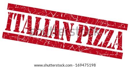 Italian Pizza grunge red stamp - stock photo