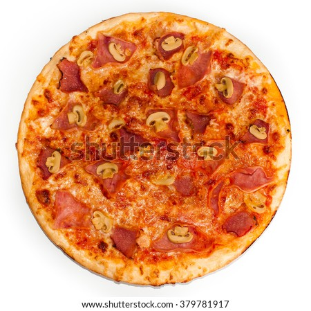 Italian pizza isolated on a white background
