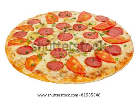 italian pizza isolated on white - stock photo