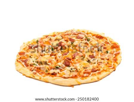 italian pizza isolated over white background - stock photo