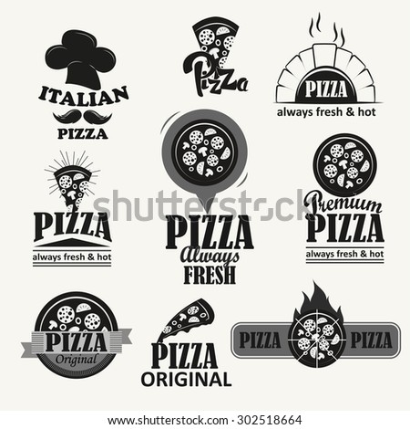 Italian Pizza logotypes set. Design elements.Vintage badges and labels set. ( raster version) - stock photo