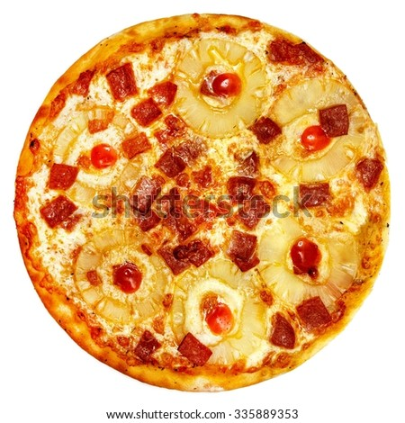 Italian pizza on a white background top view