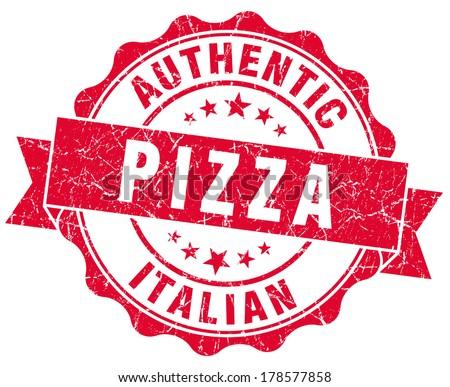 italian pizza red grunge stamp - stock photo