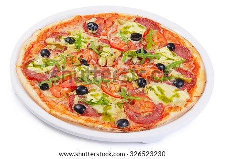 Italian pizza with cheese and olives macro