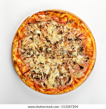 Italian pizza with cheese, mushrooms and ham on a wooden support on a white background - stock photo