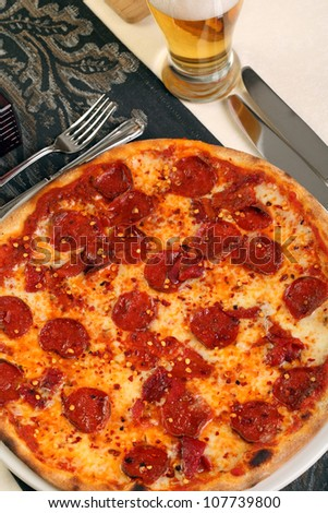 Italian pizza with hot chilly and salami - stock photo