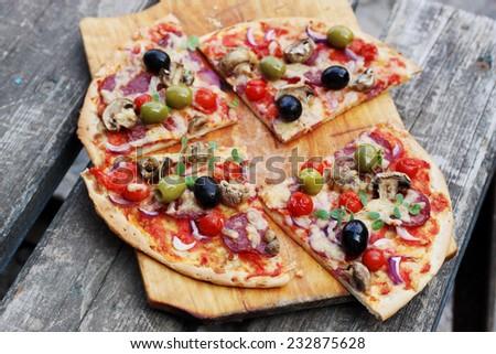 Polenta Mini Pizzas With Mushrooms & Olives Recipe — Dishmaps