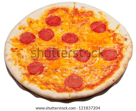 italian pizza with spicy salami isolated on white background