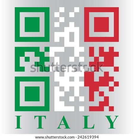 Italian QR code flag - stock photo