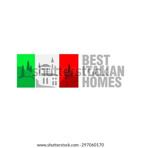 Italian real estate flag logo template. Flag stripes can be tint - stock photo