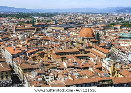 Italian red roofs in Florence, Tuscany, Italy.