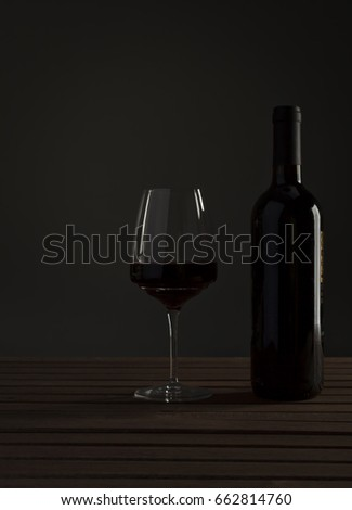 Italian red wine in bottle and glass