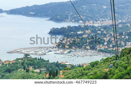 Italian resort Rapallo sea view from above