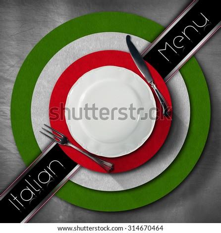 Italian Restaurant Menu Design / Restaurant menu with green, red and white Italian flag, text Italian Menu and silver cutlery.  - stock photo