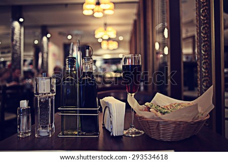 Italian restaurant serving table background - stock photo
