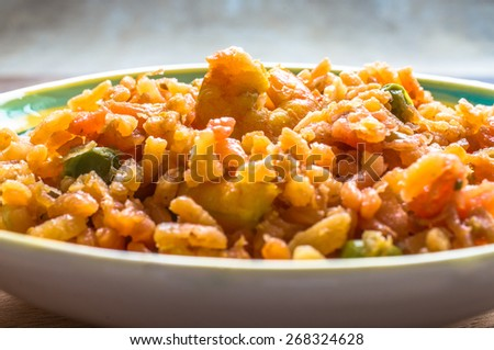 Italian rice dish risotto with shrimp close-up - stock photo