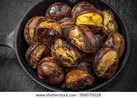 Italian roast chestnut - stock photo